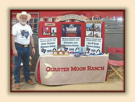 MINIATURE DONKEY EVENTS CALENDAR - Quarter Moon Ranch; Breeder of Registered Miniature Donkeys, Quality Breeding Stock, and Lovable Pets.  Miniature Donkeys FOR SALE at all times. email carolyn@quartermoonranch.com